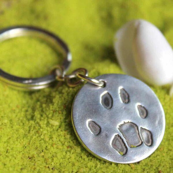 pootafdruk overleden hond herinnering sleutelhanger