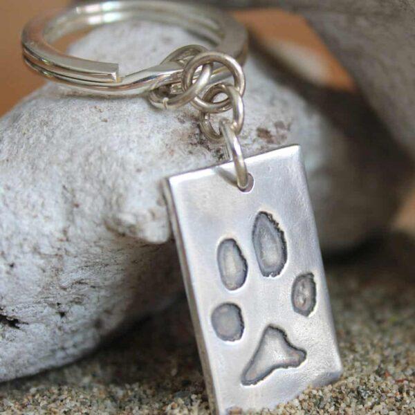 pootafdruk overleden hond sleutelhanger