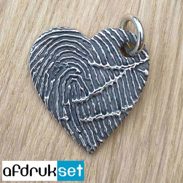 Zilveren vingerafdruk hartjes hanger